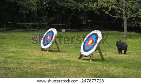 Outdoor archery target boards with archery arrows