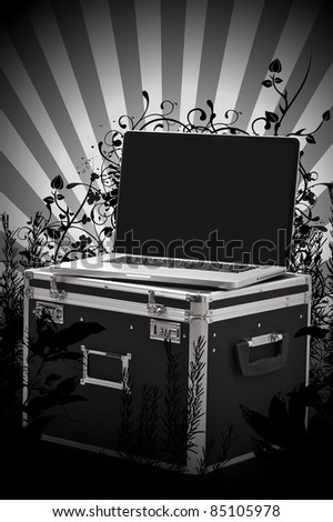 Outdoor Art Studio. Modern Laptop with Equipment Case Between Floral Ornaments. Bright Rays. Black and White Design. Outdoor Digital Studio Vertical Design.