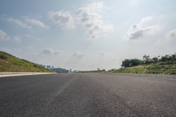 Outdoor asphalt road low angle perspective view background