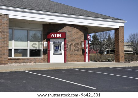 outdoor atm or automated teller machine - stock photo