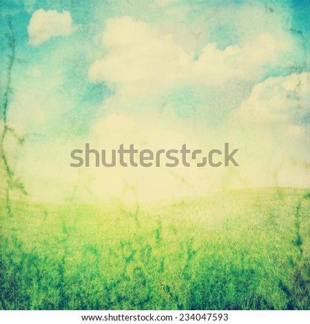 outdoor background of sky and grass toned with a retro vintage instagram filter