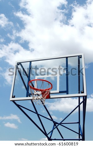 outdoor basketball court with transparent backboard