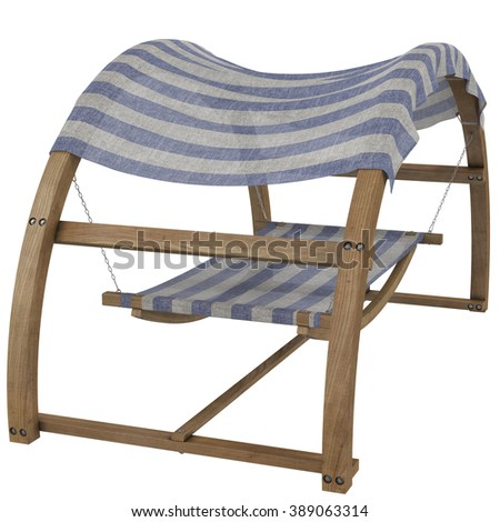 Outdoor Bed With Canopy and Pillows, 3d illustration #389063314