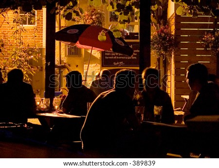 Outdoor beer garden on a summer's evening
