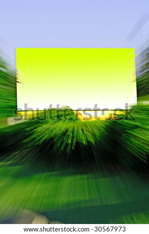 outdoor billboard with motion blur