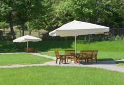 Outdoor cafe is in the park