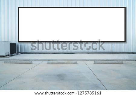 outdoor car parking and empty white billboard .Blank space for text and images. #1275785161