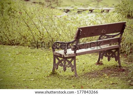 Outdoor chair in garden,vintage style light