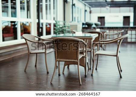 Outdoor chairs at restaurant