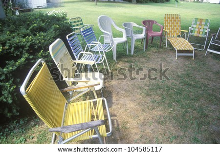 Outdoor chairs on lawn