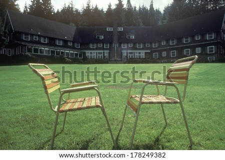 Outdoor chairs on lawn, Quinalt Lodge, WA