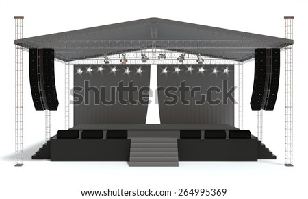 Outdoor Concert Stage Isolated White Background