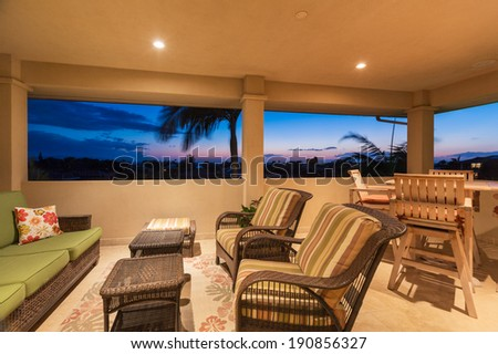 Outdoor Deck and Patio Furniture at Sunset, Luxury Home Interior Design