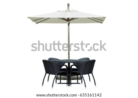 Outdoor Dining Table and Chairs with Square Umbrella Isolated on White Background
