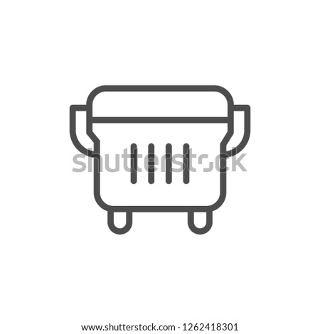 Outdoor dustbin line icon isolated on white