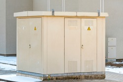 Outdoor electric control box in the city. Outdoor High voltage electrical boxes.