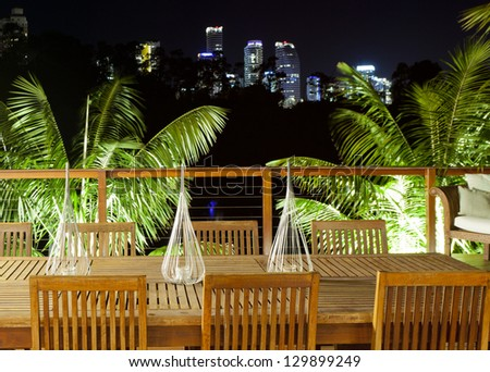 Outdoor entertaining area with beautiful city skyline view