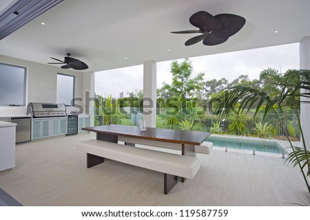 Outdoor entertaining area with swimming pool
