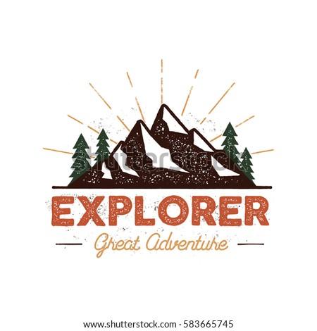 Outdoor explorer badge. Retro illustration of outdoor explorer label. Typography and roughen style. Outdoor explorer logo with letterpress effect. Inspirational text. Outdoor explorer stock .