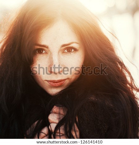 Outdoor Fashion Stunning Closeup Portrait Of Pretty Young Girl. Woman Posing In Winter Sunny Sunshine Photo.