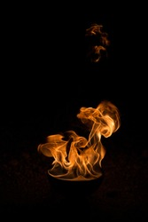 Outdoor fire against a night dard background