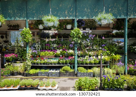 Outdoor flower shop in Paris, France