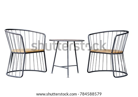Outdoor furniture coffee set, Black round steel bar structure 2 lounge chairs wooden seat and coffee table wooden top surface industrial loft style isolated on white background #784588579