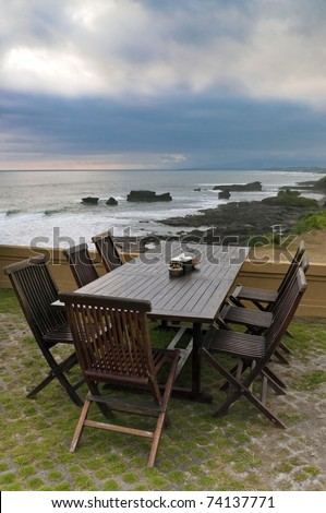 Outdoor furniture, with table, chairs and sea view