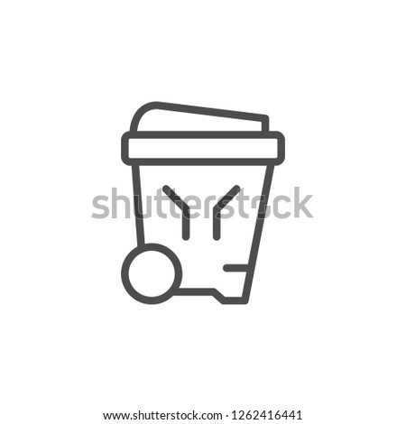Outdoor garbage bin line icon isolated on white