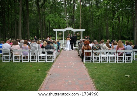 Outdoor garden wedding at a park.