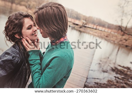 outdoor lifestyle capture of young loving couple