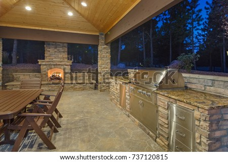 outdoor living space and patio