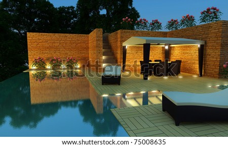 Outdoor luxury villa with infinity pool and gazebo for relax time