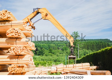 Outdoor machine lift up stacking the logs at sawmill in europe with background green forest ,blue sky and clouds. industrial wood yard with stacks of new wood poles.  #1392404309