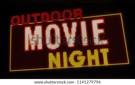 Outdoor movie night retro intro illuminated letters on big neon display with large pixels. Bright light text on bulbs display. Entertainment event advertising banner 3D illustration.