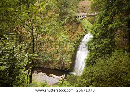 Outdoor nature park with waterfall and bridge
