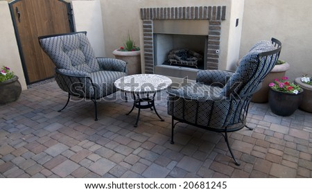 Outdoor patio lounge chair area