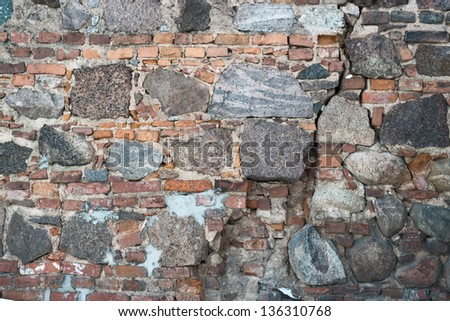 Outdoor photo of brick and stone old wall as abstract texture background