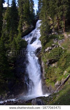 Outdoor Photography - Beautiful Waterfall in Jahaz Banda - Kund Banda -  Kumrat Valley Swat KPK - Scenery of Large Meadow Foto stock ©