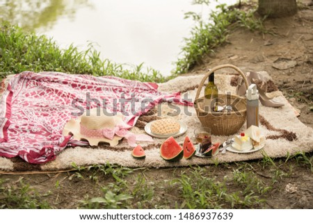 Outdoor picnic concept with wine cake and fruit.