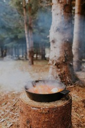 Outdoor picnic in nice spring day. Hot steaming pan with bean sauce and eggs placed on a stump in middle of forest. Meadow in woods. Trees in background. Enjoy your meal in nature concept