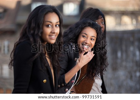 Outdoor Portrait  of happy young african american teenage girls