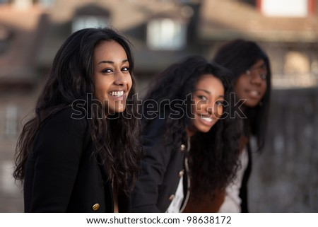Outdoor Portrait  of happy youngs african american teenage girl