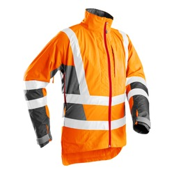 Outdoor Protective Clothing Isolated. Orange High Viz Light-Up Technical Jacket Made of Light Polyester for Forestry Work. High Visibility Technical Outerwear. Man's Wardrobe Performance Garment