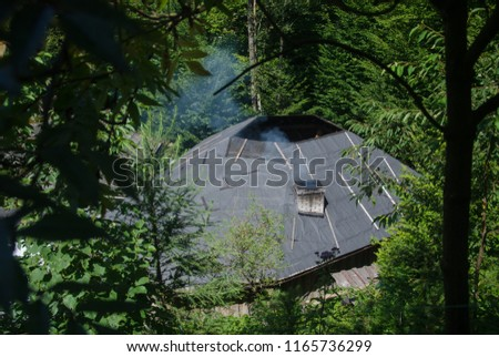 Outdoor recreation - chan on a mountain river in Carpathian #1165736299