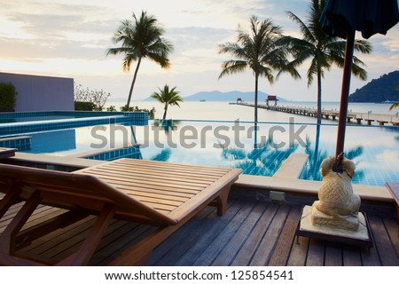Outdoor resort pool in asia tourist islands