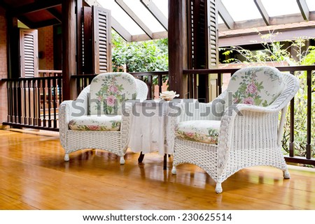 Outdoor rest area with white nice armchair sofa, #230625514