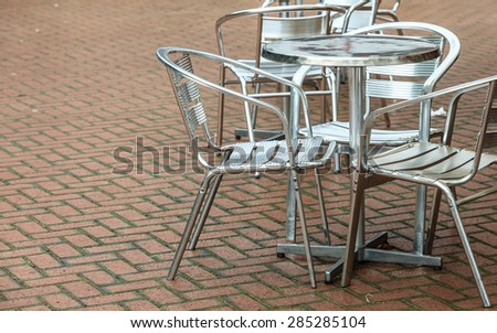 Outdoor restaurant coffee open air cafe chairs with table. Summer vacation on resort
