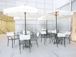Outdoor restaurant in modern building