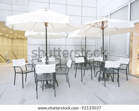 Outdoor restaurant in modern building